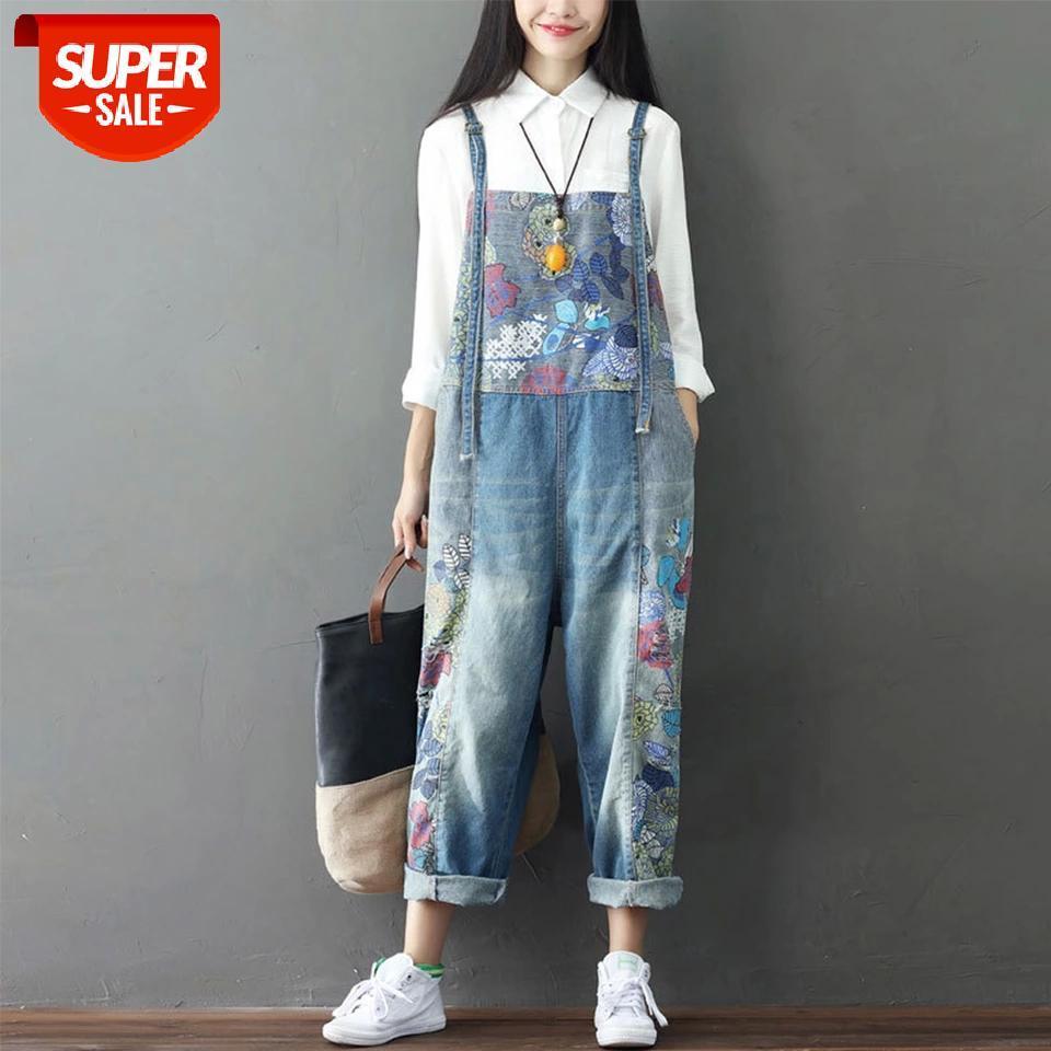 Supermiss mulheres primavera primavera macacão jeans 2020 macacão solto playsuit largo perna calça casual denim macacão impresso # mp4u
