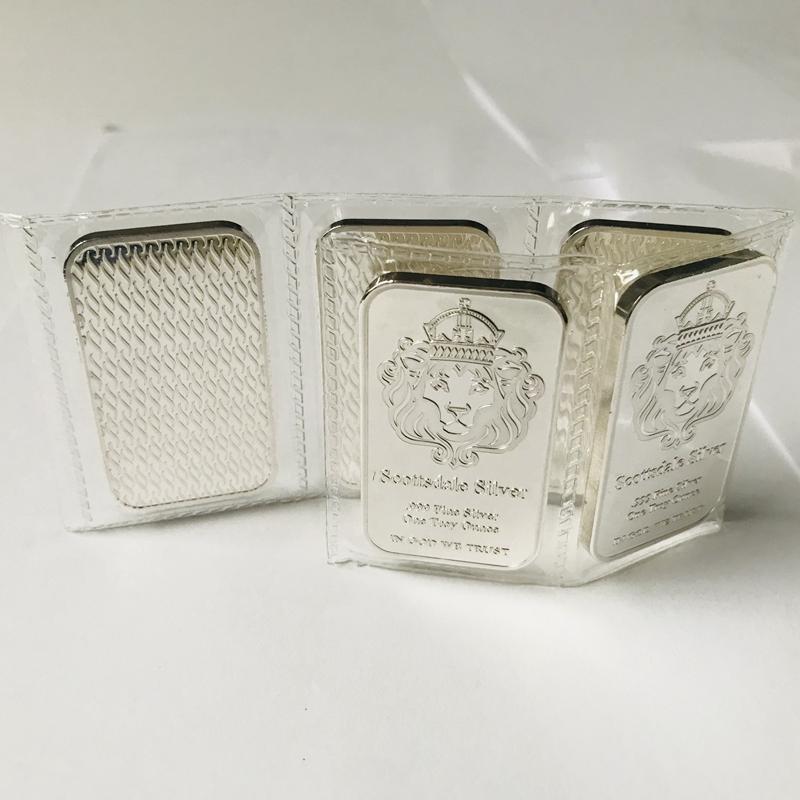 5 قطع غير المغناطيسي الأمريكية scottsdale عملة كرافت جاهز رئيس 1 أوقية الفضة مطلي سبيكة فراغ مختومة التعبئة الديكور هدية النادرة تذكارية شريط