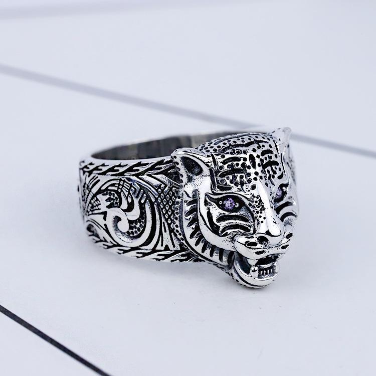2021 Echte 925 Sterling Silber Vintage Ringe für Männer Frauen Liebhaber Biker Punk Mode Designer Schmuck Tiger Schädel Ringgeschenke Zero1 Ghost