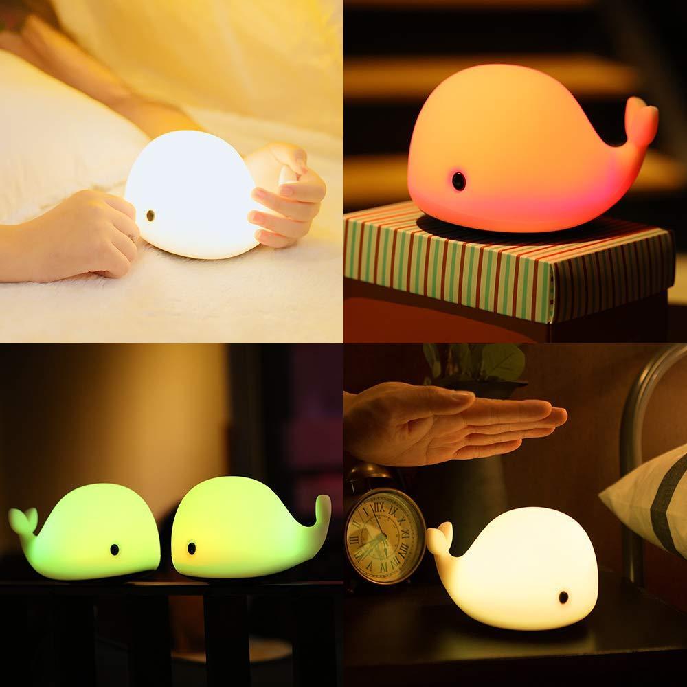 Baby Room Dolphin Lamp LED Gadget Luces de noche Ballena Pat-Lamp Dibujos animados Nightlight Kids Dormitorio Dormitorio Dormir Iluminación Niños Regalo de Navidad