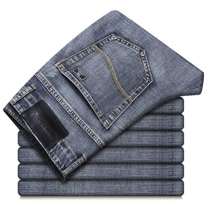 Mince Slim Denim Denim Mince Jeans Classic Marque Broderie Printemps / Été Coton Stretch Poids Casual Jeans décontractés Gris 210531