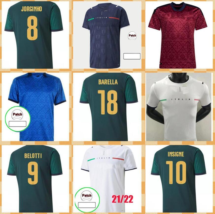 Homem Kit Kit 2020 2021 Verratti Insigne Bonucci Jersey 20 21 Italia Bonucci Insigne Jorginho Futebol Camisas Italian Football Kits