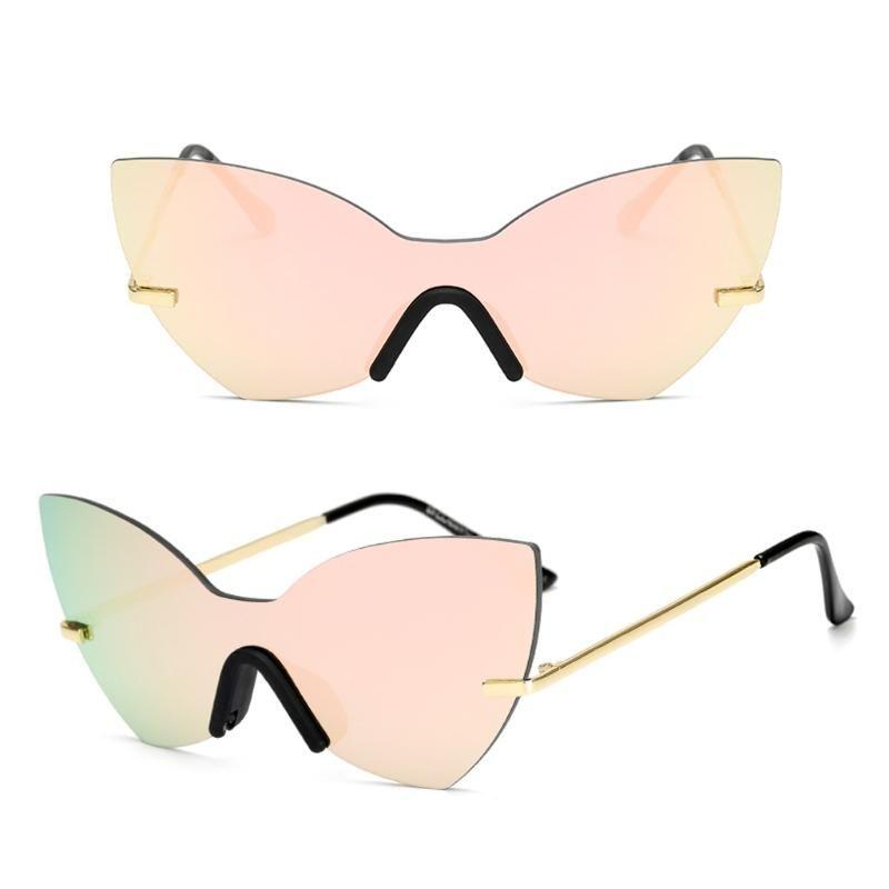 Женщины Мода One Piece Lens Зеркал Cat Eye Солнцезащитные Очки Дизайнерские Очки Тени 85WB