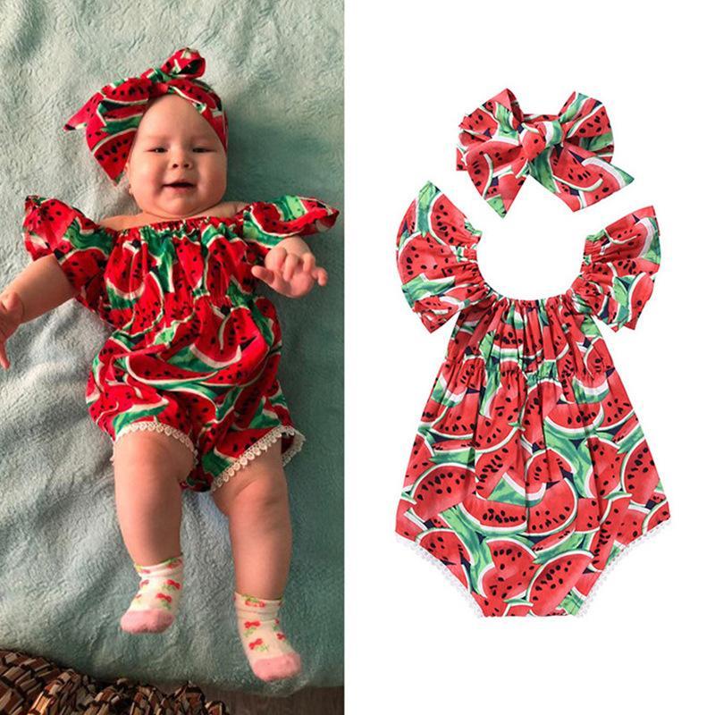 الطفل البطيخ السروال القصير بوم هامش 2021 أطفال بوتيك الملابس الرضع الصغار الفتيات أكمام نيسيس مع عقال