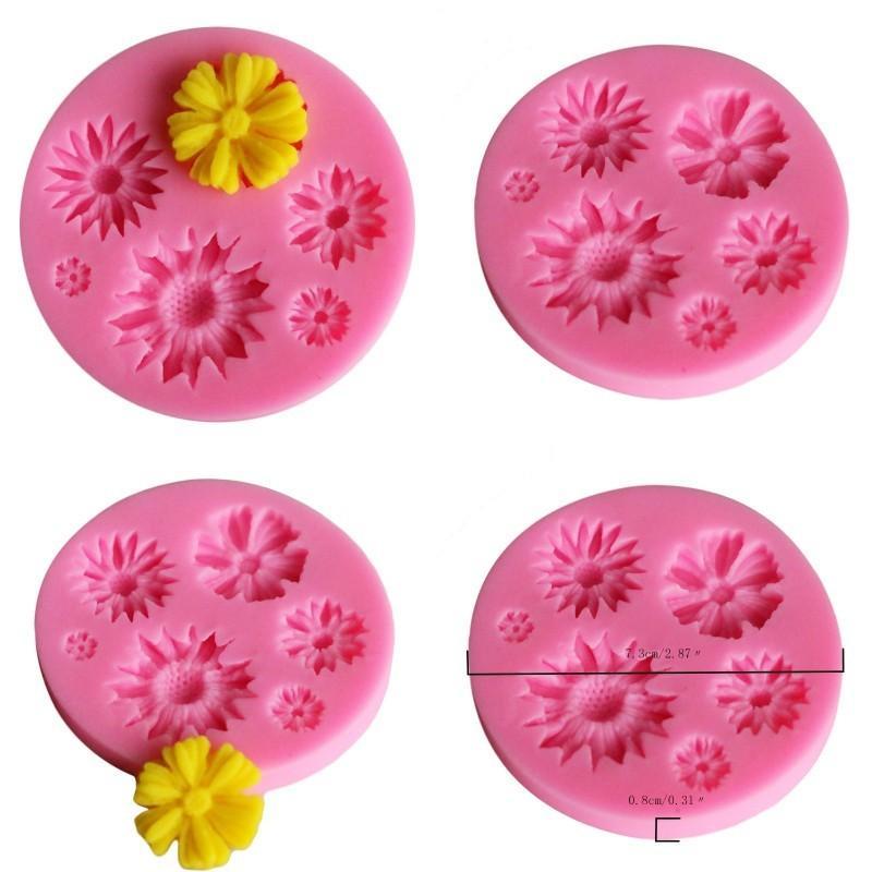Silicona Girasol en forma de fondant Moldes de fondant de color puro Moldes de pastel de bricolaje Molde de chocolates decorativos para herramientas para hornear 1 4yxa E1