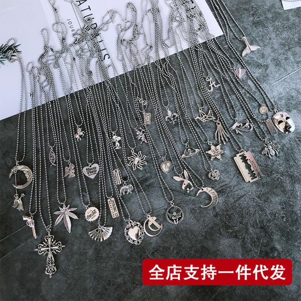 Tiaodi Tuku 힙합 스테인레스 스틸 목걸이 대마 잎 십자가 천사 라운드 비드 체인