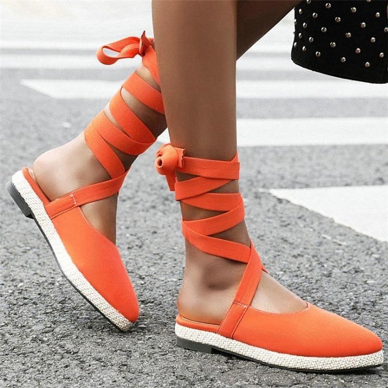 2020 Oxfords Femmes Toiles Sandales à lacets de Toile à talons Low Heel Gladiateur Sandales Femme pointue Toe Plate-forme d'été Pompes Chaussures Casual Chaussures 52NR #