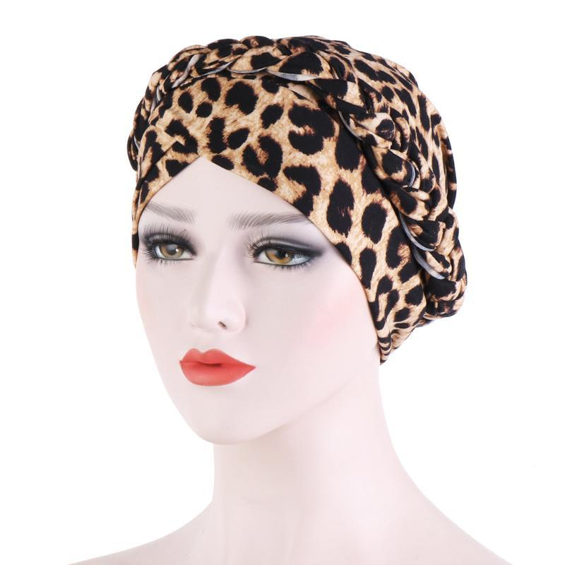 Beanie / Capas de cráneo Impreso Leopardo Leche Cepillada Seda Turban Cap Paño Paño Corto Braid Toe Muslim