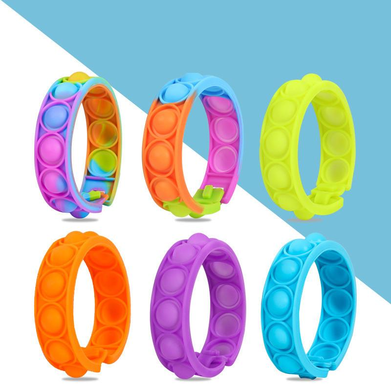 Favor de la fiesta alivio del estrés pulsera fidget juguetes empuje burbuja burbuja sensory mano dedo prensa pulsera de silicona juguete para adultos ansiedad infantil