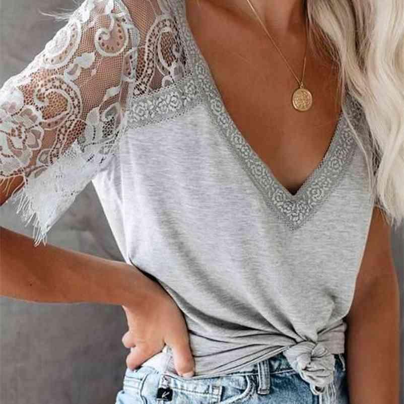 Boho inspirado renda profunda v-decote top t-shirt mulheres sheer lace manga algodão sexy mulheres tee tops short sleve tops plus size 210320