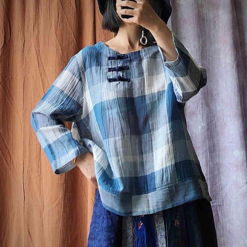 Johnature vintage manga cheia xadrez camisas O-pescoço outono mulheres soltas Blusas All- Match Casual Retro Tops 210521