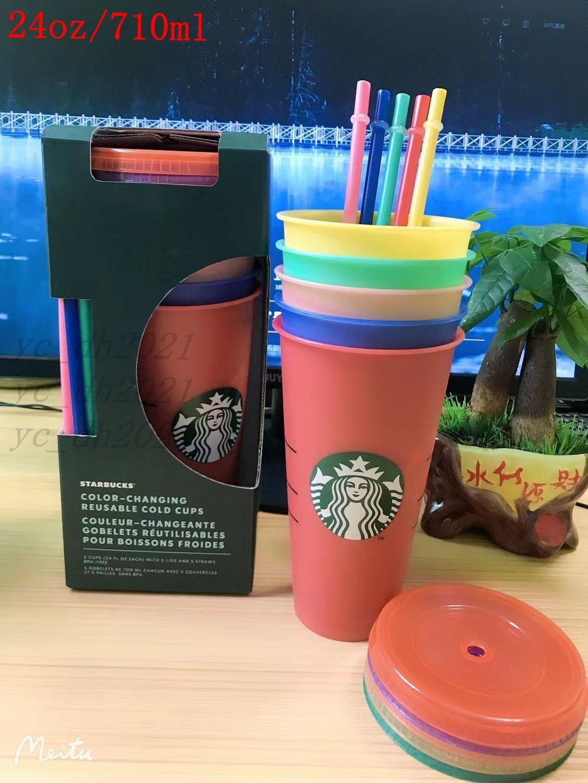 دي إتش إل الحرة ستاربكس 24 أوقية / 710ML اللون تغيير البهلونز البلاستيك عصير الشرب مع الشفاه و القش سحر القهوة أكواب كوستوم أكواب