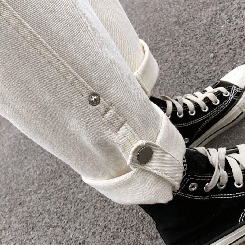 Perna Primavera Branco Grande Calça Jeans 2021 Novo Alto Cintura Bege Bege Solta Daddy Calças Reta das Mulheres