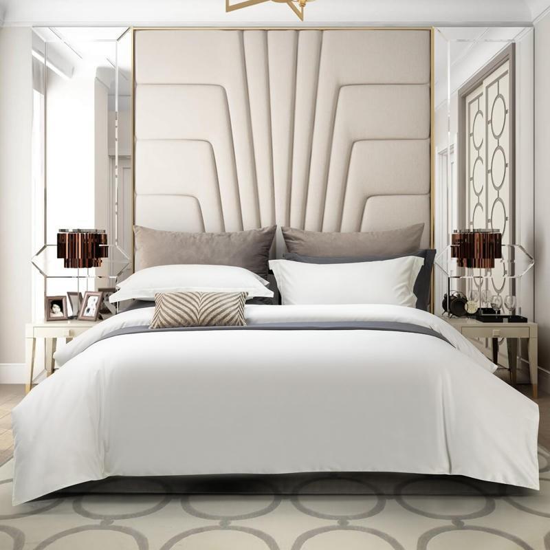 Bettwäsche-Sets Luxus-Set 1000TC Lange Heftklammer Baumwolle Massivfarbe Bettbezug mit Reißverschluss Weiche Atmungsaktive Qualität Bettlaken Kissen Shams