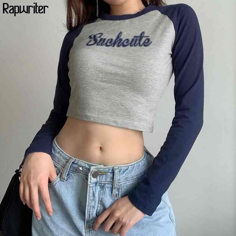 Carta bonito de painéis impressão de algodão y2k estética t camisa mulheres harajuku o-pescoço manga longa slim colheita tops camiseta feminina 210322