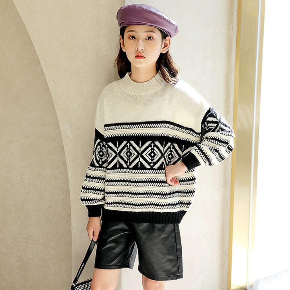 Vêtements pour enfants Version cordonnée Zhongda Vêtements pour filles Automne hiver Pull rayé pour enfants lâche