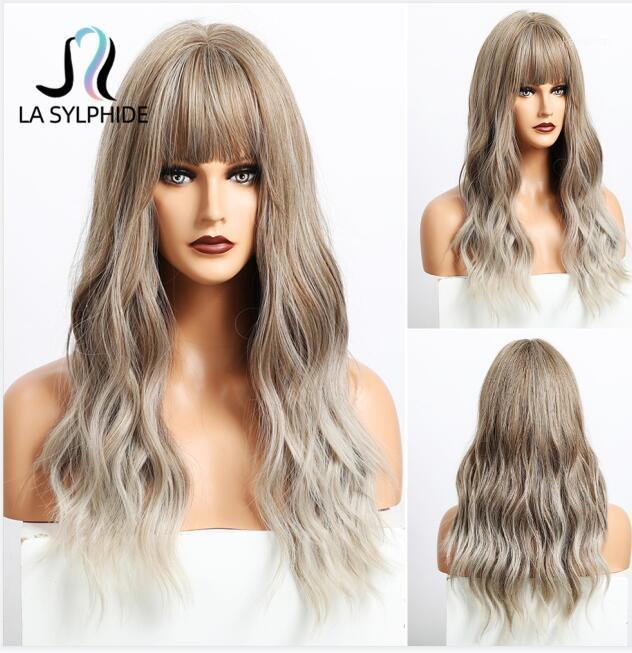 La Sylphide Synthetic Wig Long Deep Wave Root Brown Gray Ombre Light Hair Wigs With Bangs For Woman Heat Resistant1