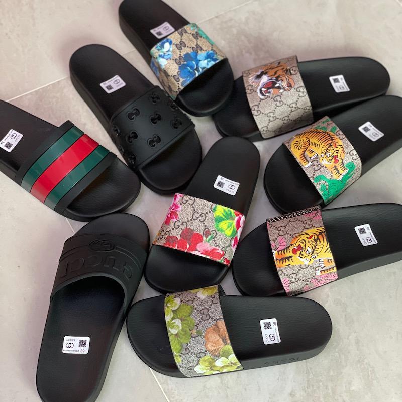 디자이너 고무 슬라이드 샌들 꽃 방패 남자 구두 기어 바닥 슬리퍼 플립 여성 스트라이프 비치 인과 슬리퍼 박스 포함 US5-11