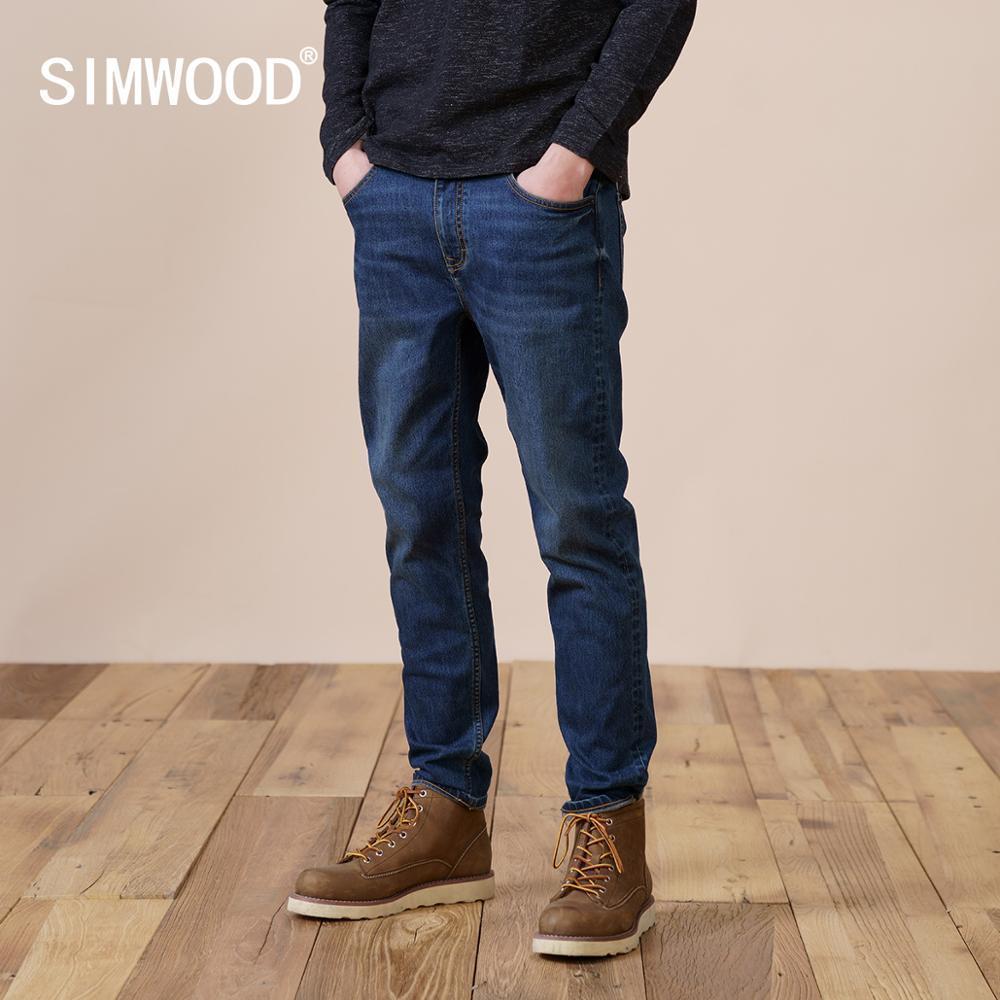 Simwood Winter New Forro Forro Calças de Jeans Homens Slim Fit Capered Denim Calças Plus Size de Alta Qualidade Marca Roupas SJ131130 210320