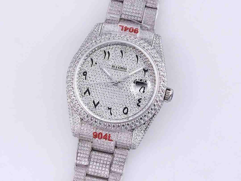 .Full Diamond Mens Watch Automatic Mechanical Watches 40.6mm Diamonds Bezel Waterproof Sapphire WristWatches DiamondStudded Steel Bracelet Montre De Luxe