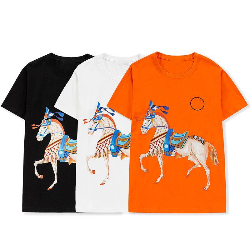 T-shirt pour femmes 100% coton Mens t-shirts Couple Couple Casual 6 couleurs Style Style Designer Taille de chemise respirante confortable M-XXL Wholesale War cheval de guerre