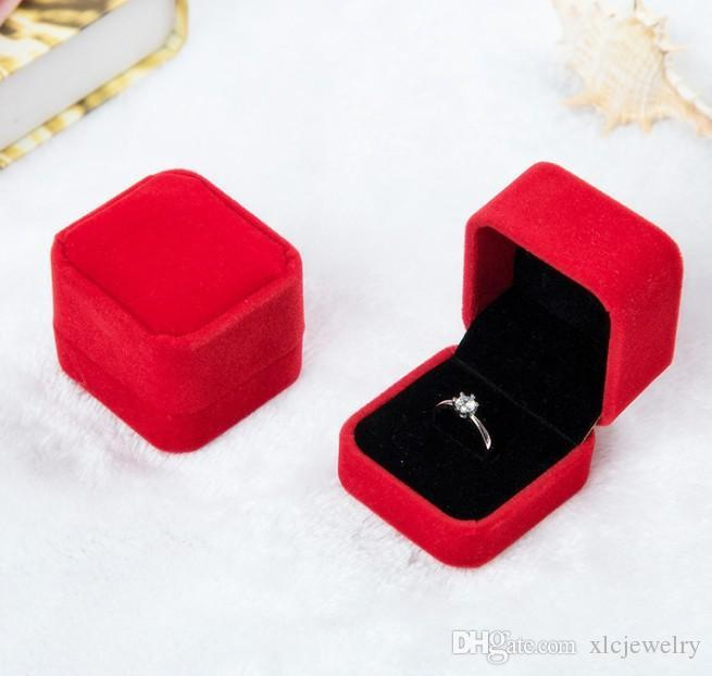 Flannel ring box jewelry box Pink Gray jewelry gift wrap Wedding Valentine's day present supplies 5*5*3cm