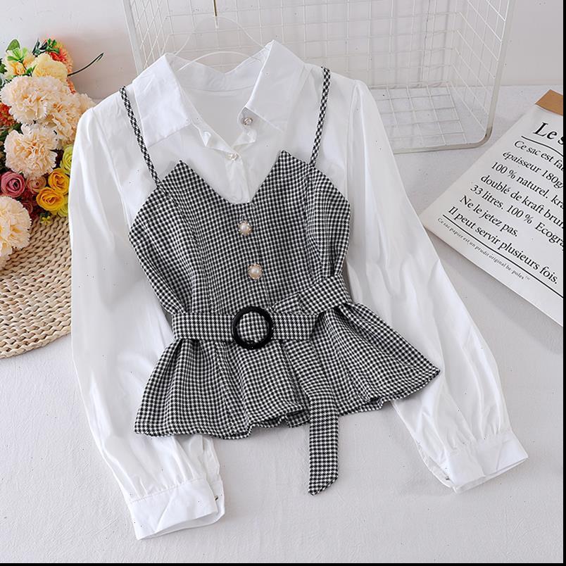Bayan Bluzlar İlkbahar Sonbahar Gömlek Kore Çizgili Askı Düz Renk Uzun Kollu Bluz Sahte İki Adet Tops LL830