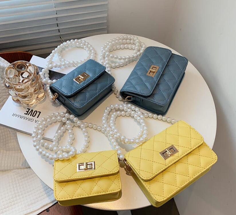 Women's new versatile pearl chain shoulder bag fashion diamond embroidered line cross-body bag