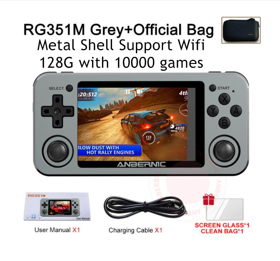 ANBERNIC RG351M Metal Handheld Game Player 128G For PS1 DC GB N64 10000 Video Wifi Pocket Retro Games Consoles Kids Gifts