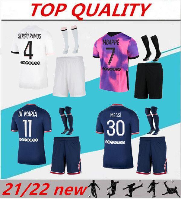 Hommes 2021 2022 Kits de football Mbappe Verratti Messi Jersey de football 21/22 Maillot de Foot ICARDI DI MARIA KIMPEMBE MARQUINHOS SERGIO RAMOS SETS SETS