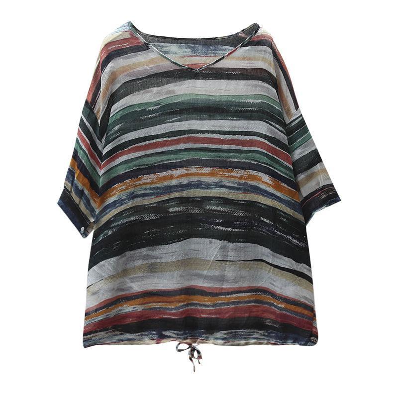 FJE Yeni Yaz Kadın T Gömlek Artı Boyutu Yarım Kollu Gevşek V Yaka Vintage Çizgili Dalga Baskı Keten Tops Tee Gömlek D17 Tops