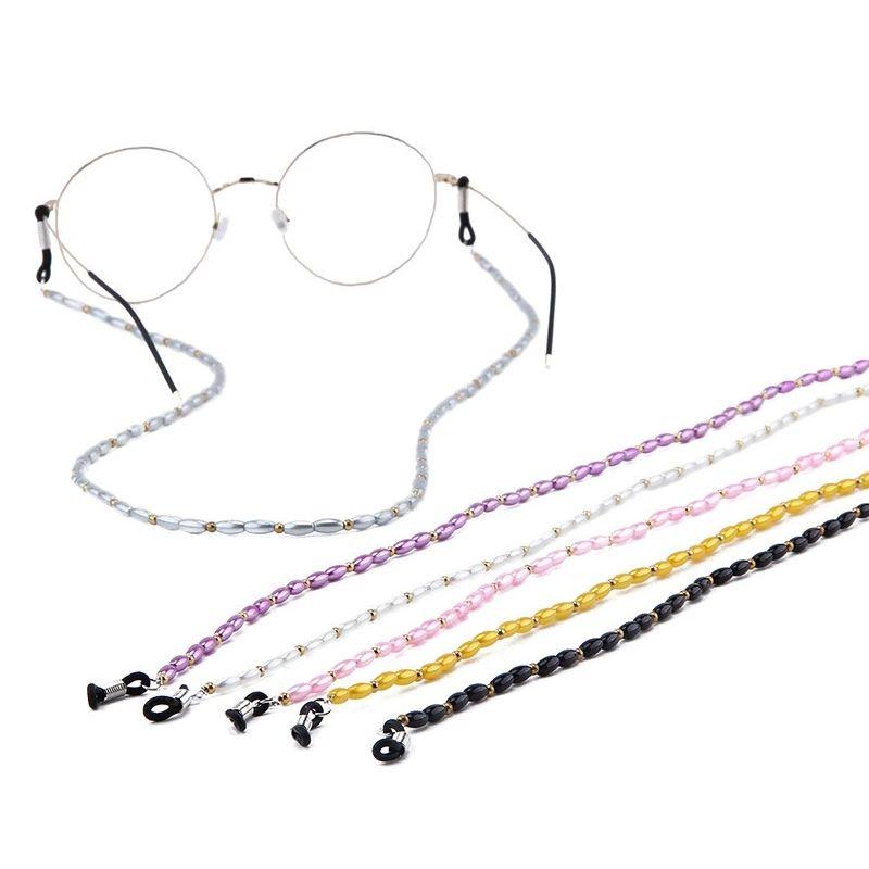 Fashion Acrylic Crystal Glasses Neck Strap Chain Acrylic Crystal Black Beads Eyeglasses Necklace Metal Sunglasses Cord Lanyard