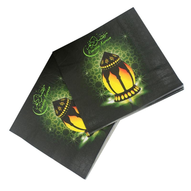 60 pcs impressos guardanapos de tecido de tecido coloful impressão para o islamismo muçulmano ramadan (cor sortido) guardanapo de mesa