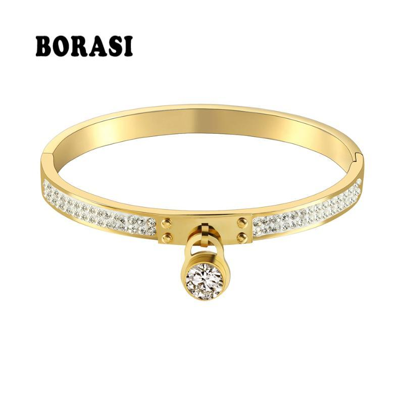 Bangle Luxury Fashion Jewelry Charm Lock Crystal In The Middle Bracelets For Women Gold Color Engagement & Bangles