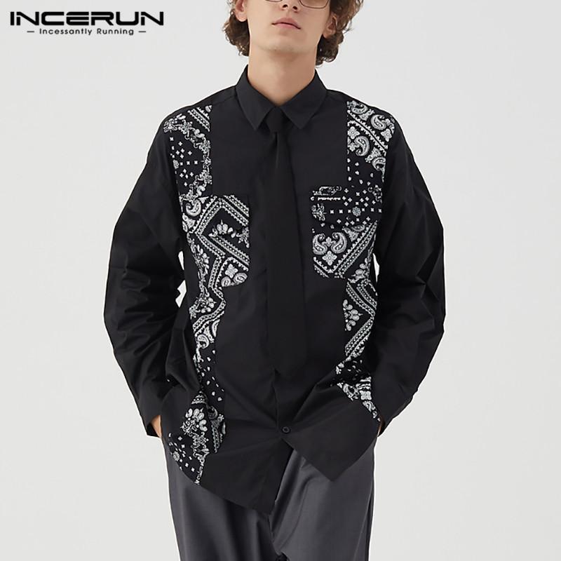 봄 남자 캐주얼 셔츠 인쇄 패치 워크 스트리트웨어 긴 소매 칼라 버튼 탑스 패션 브랜드 셔츠 남자