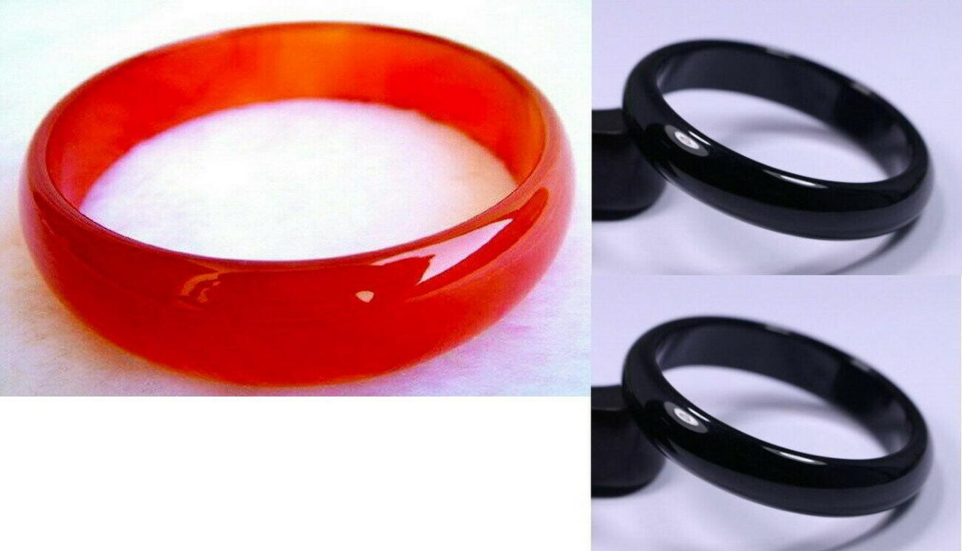 Bangle 56mm-64mm sehr feines seltenes natürliches schwarzes / rotes Jadeite-Jade-Armband