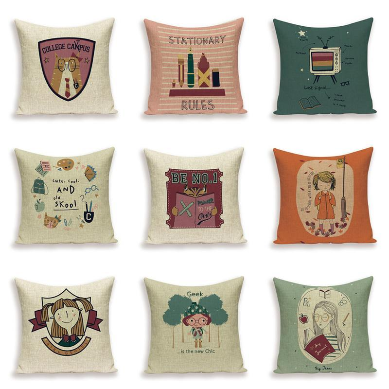 Cushion/Decorative Pillow Cartoon Girl Pillows Cover Portrait Book Cushion Covers Linen Case Letter Home Decoration Sofa Bed Cushions Cases