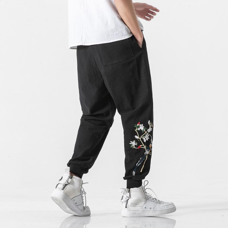 남자 수 놓은 하렘 바지 빔 발 바지 루스 캐주얼 힙합 일본 남성 패션 하라주쿠 streetwear JE618