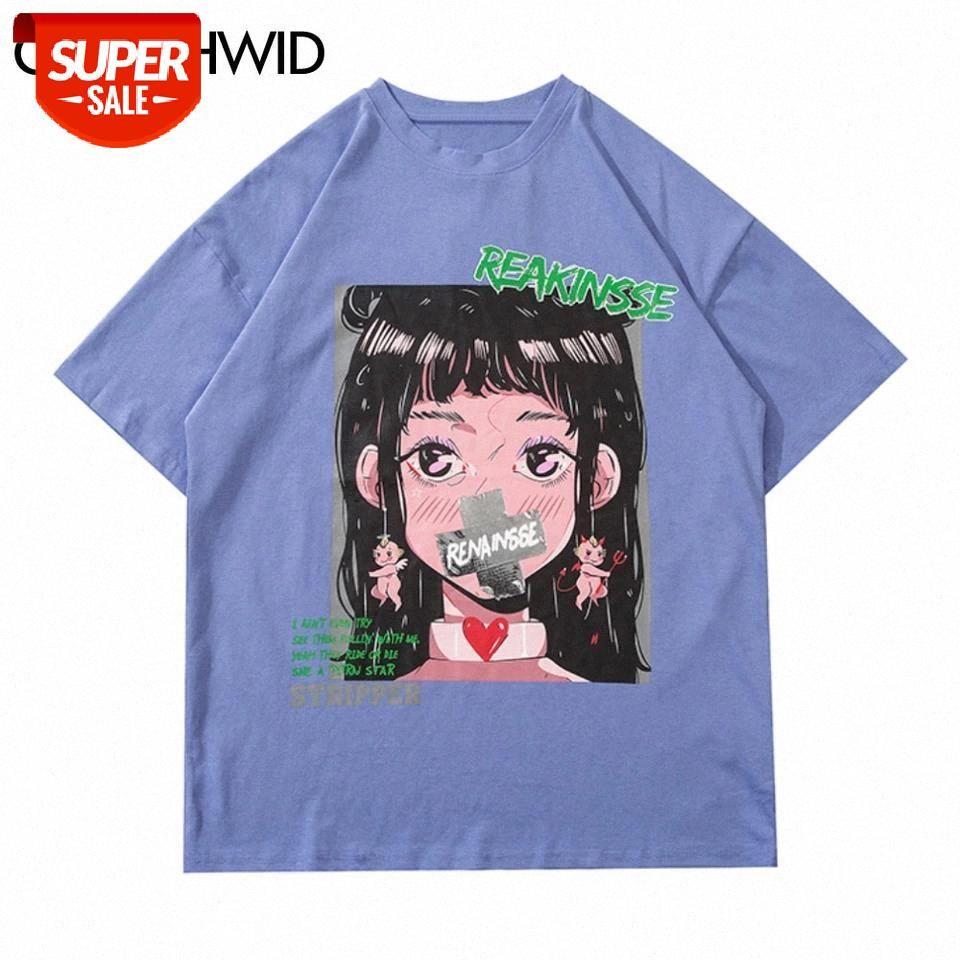 Tees Tops Men Streetwear Harajukiu хип-хоп аниме мультфильм девушка печати футболки хлопок случайные свободные с короткими рукавами футболки # FD39
