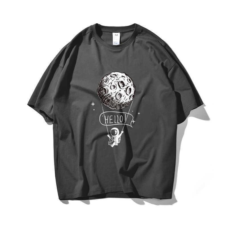 Mond Astronaut Hip Hop Übergröße T-shirt Männer Streetwear Harajuku Tshirt Kurzarm Baumwolle Lose Hiphop T-Shirt Sommer 210603
