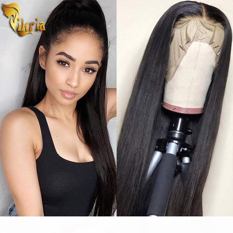 Sedoso recto encaje lleno cabello humano peluca encaje peluca delantero cabello virgen color natural pelir rayina 130% densidad para mujeres negras brasileño