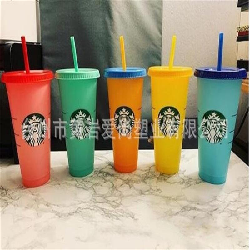 2021 24 Unzen Farbwechsel Tumbler Kunststoff Trinksaft Cup mit Lippe und Strohmiefter Kaffeetasse Costom Starbucks Farbwechsel 370 s2