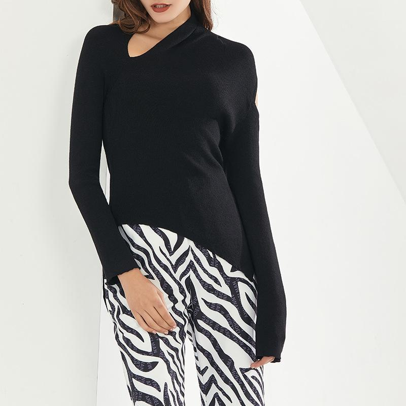 الشتاء 2021 أزياء عالية مزاجه المرأة طويلة الأكمام غير النظامية حمالة مثير نظارات سترة البلوزات المرأة البلوزات