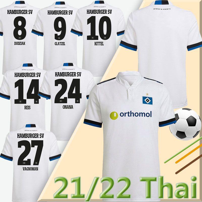 21/22 Hamburger SV Soccer Jerseys Home White Vagnoman Onana Leibold Reis Kittel Glatzel Dudziak 2021 2022 HSV Hommes Football Shirts Uniformes