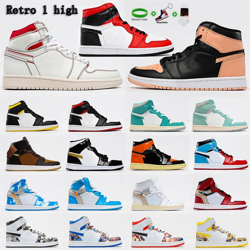 [Con caja]Air Jordan 1 4 x Off-White shoes Jordans  jumpman OG  zapatos de baloncesto Barb High Top Ow Joint Chicago Carolina del Norte Blue Obsidian Shadow Negro Casual Sneakers