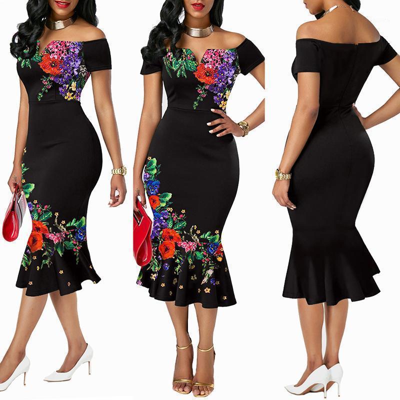 여성을위한 Dashiki 아프리카 프린트 드레스 저녁 파티 드레스 꽃 면화 드레스 숙녀 옷 벗은 어깨 섹시한 dress1