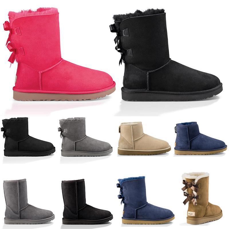 Botas de nieve de invierno para mujer Triple Negro Castaño Rosa Azul marino Gris Moda Clásico Botines cortos Botas para mujer Señoras Chicas Botines Zapatos cómodos
