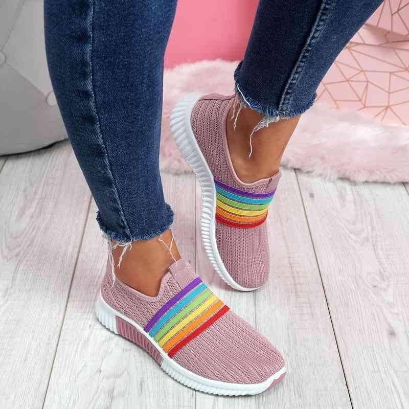 Summer Women's Sneakers Slip on Soft Women's Shoes Flat Casual Sock Shoes Ladies Mesh Lofaers Fashion Vulcanize Shoes 210322