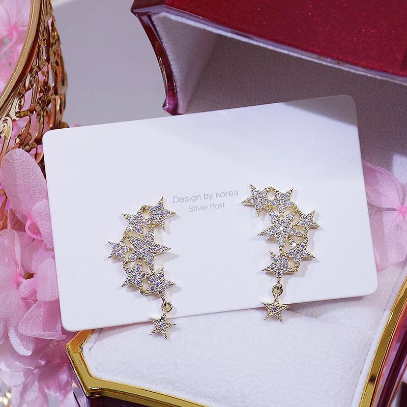 مصمم غرامة تألق الأقراط النجومي النجوم للنساء الإبداع المجوهرات الفاخرة S925 إبرة عالية الجودة الزركون حزب هدية