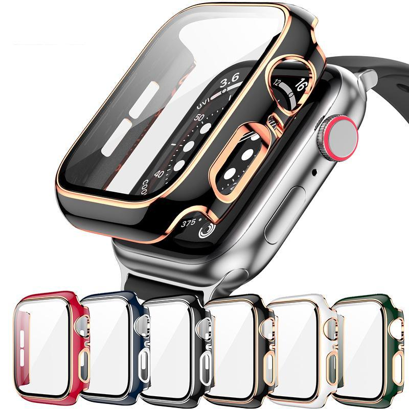 360 Full Screen Protector Bumper Frame Matte Hard Cases For Apple Watch Case 40/38//44/42mm Cover Tempered Glass Film iWatch 6/SE/5/4/3 Covers With Retailer Packing